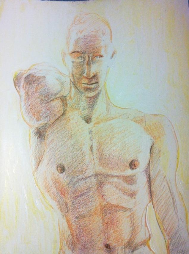"""Nathan"" Pencil crayon on paper 11""x14"" (2011)"