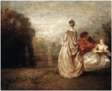 Jean-Antoine Watteau – The Two Cousins, c.1716. Musee du Louvre
