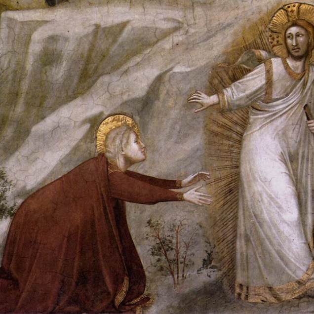 "Giotto di Bondone ""Scenes from the Life of Mary Magdalene"" 1320s ""Noli me Tangere"" (detail)."
