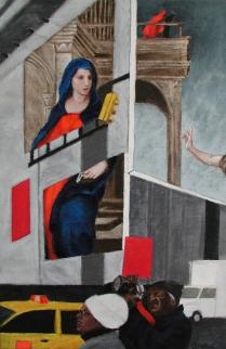 """Del Sarto on Times Square 1"" Acrylic on canvas 30""x20"" (2006)"