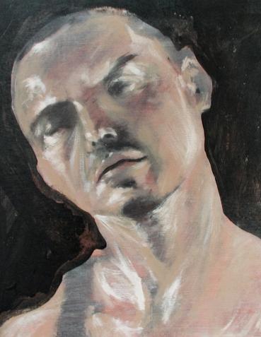 """""""Self"""" Acrylic on Wood 18""""x18"""" (2009)"""