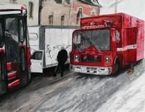 """Kicking Tire"" Acrylic on canvas 24""x30"" (2004)"