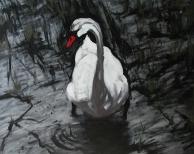 """""""Swan"""" 24""""x30"""" Acrylic on canvas (2002)"""