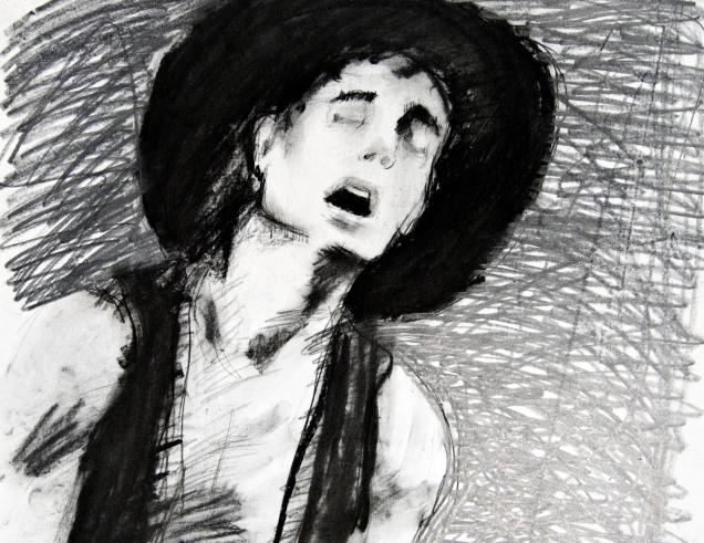 """Tex"" Charcoal on paper 18""x18"" (2007)"
